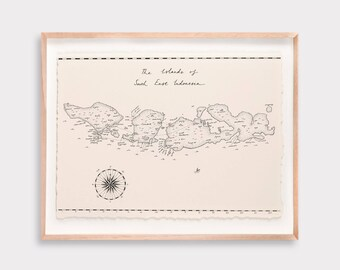 South East Indonesia Map Illustration Print