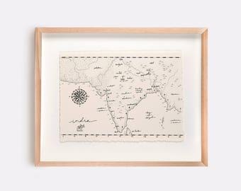 India Map Illustration Print