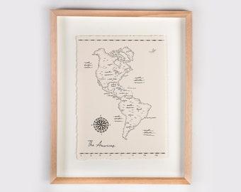 The Americas Map Illustration Print