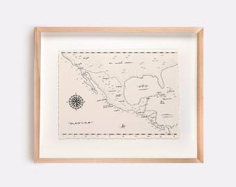 Mexico Map Illustration Print