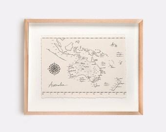 Australia Map Illustration Print