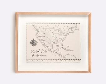 United States if America Map Illustration Print