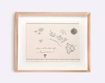 Hawaii Map Illustration Print