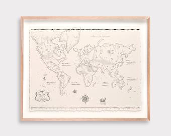World Atlas Illustration Print