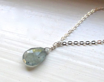 Moss Aquamarine necklace March birthstone silver gold simple briolette style