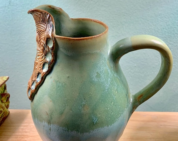Original Textured Ceramic Pitcher in Soft Blue Green