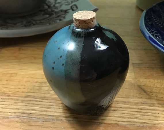 Adorable Ceramic Bottle with Cork in Black and Turquoise
