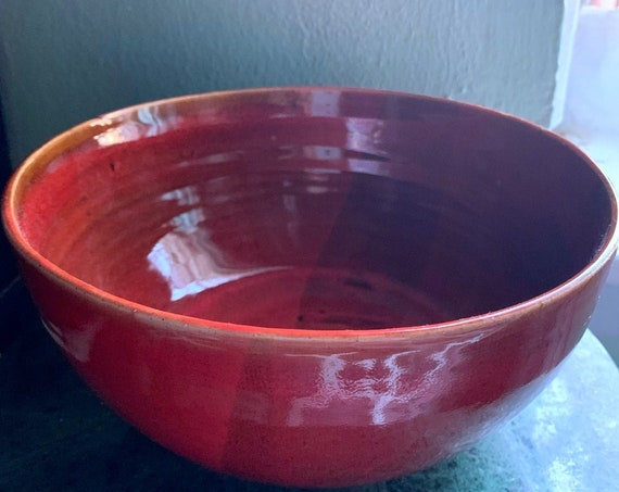 Rich Rouge Ceramic Serving Bowl
