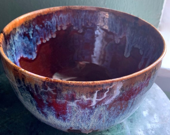 Gorgeous Medium Sized Ceramic Bowl in Red and Opal