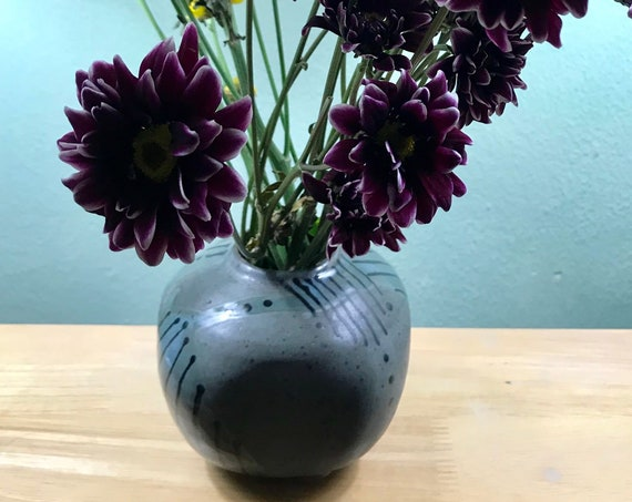 Modern Striped, Round and Square Ceramic Pot or Vase