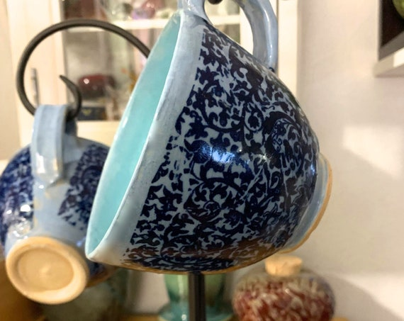 Beautiful, Ornate, Large Ceramic Latte Mug(s) in Shades of Blue