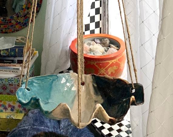 Hanging Planter Ceramic Clam Shell