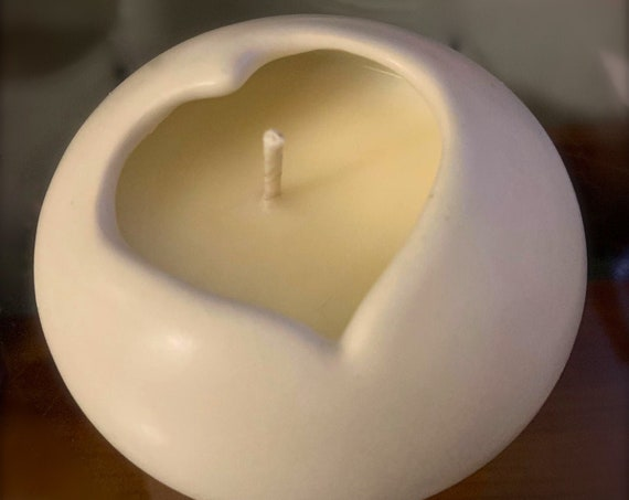 Rose Scented Heart Shaped Candle in Porcelain Heart Shaped Bowl