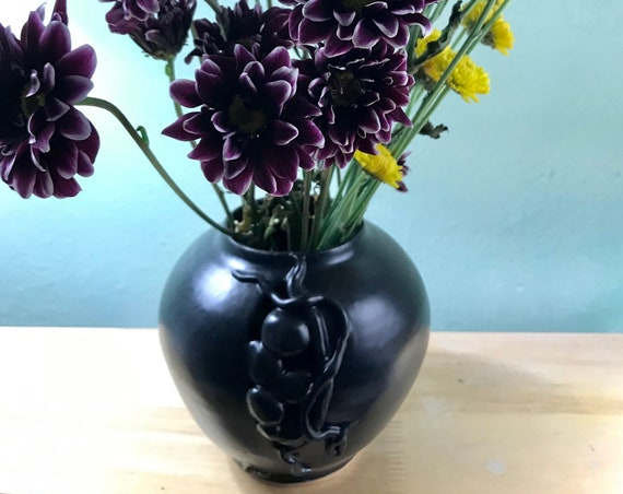Elegant Art Deco Ceramic Vase/ Pot in Smooth Black Satin Glaze