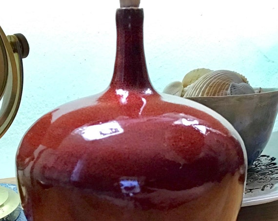Deep Red Round Ceramic Bottle with Black Border
