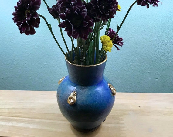 Turquoise and Gold Ceramic Vase