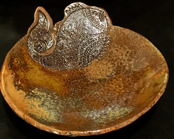 Gorgeous Serving Bowl with Jumping Fish Motif in Rich Earth Tones of Reduction Glazing