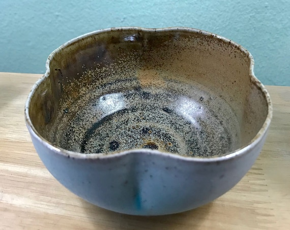 Beautiful Salt Fired Clover Shaped Ceramic Bowl