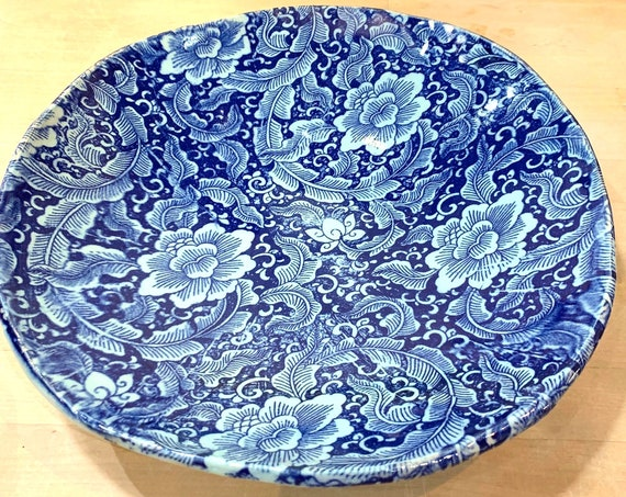 Gorgeous Floral Ceramic Serving Bowl in Rich Blue and Green