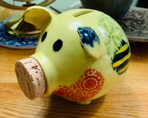 Colorful and Cute Ceramic Patchwork Piggy Bank