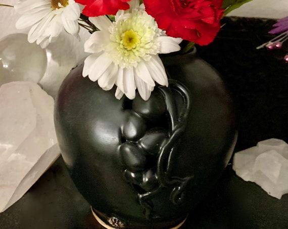 Elegant Art Deco Ceramic Vase/ Pot in Smooth Black Satin Glaze