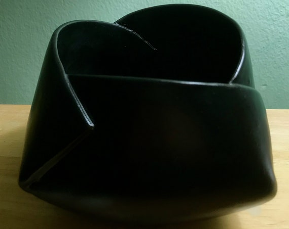 Ceramic Origami Pot in Rich Satin Black