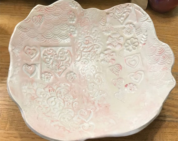 Loving Hearts Pink and White Ceramic Serving Bowl