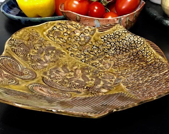 Textured Serving Platter in Saturated Amber and Coppery Rutile Accents