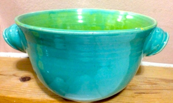 Summery Serving Bowl in Turquoise & Chartreuse
