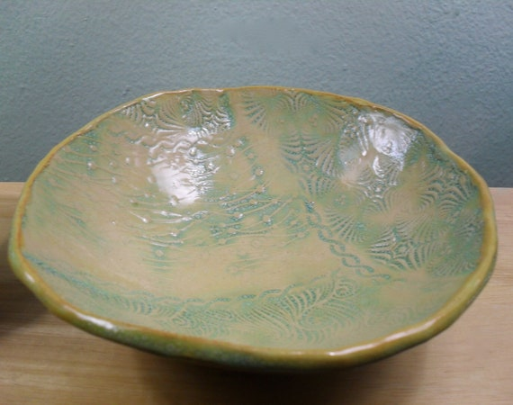 Beautiful Textured Hand Built Ceramic Bowl in Soft Pastel Colors