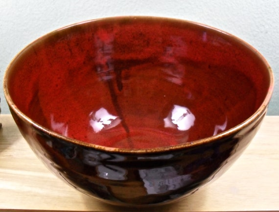 Rich Red Ceramic Serving Bowl