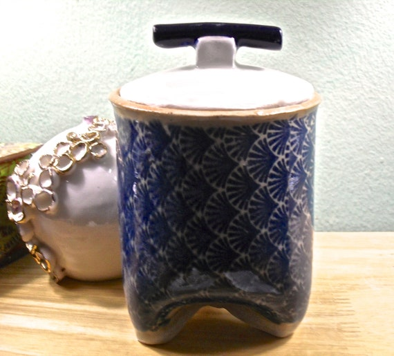 Asian Inspired Ceramic Jar with Lid in Blue and White