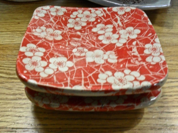 A Set of Two Small Ceramic Sushi Plates in Japanese Red Floral Design