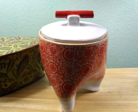 Asian Inspired  Three Foot Ceramic Jar with Lid in Red and White