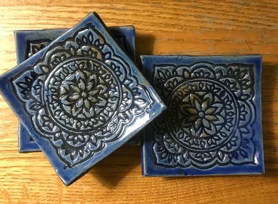 Set of 3 Small Square Plates with Beautiful Floral Pattern