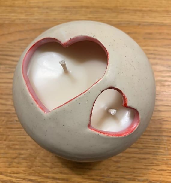 Double Heart Rose Scented Candle in Ceramic Bowl