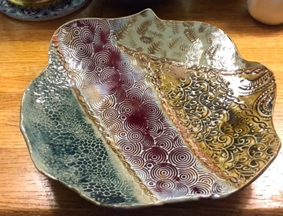 Colorful Patchwork Patterned Ceramic Serving Platter
