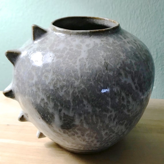 Spiky Ceramic Pot In Shades of Grey