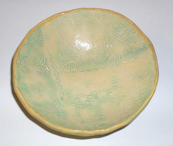 Beautiful Textured Hand Built Ceramic Bowl in Soft Pastel Colors