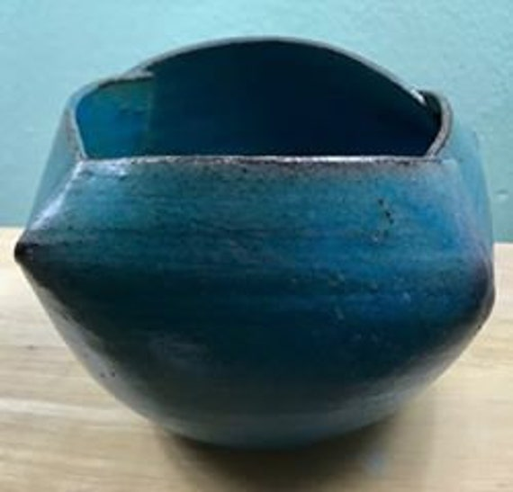Ceramic Origami Pot in Turquoise