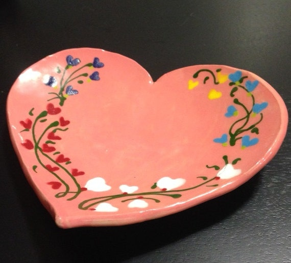 Heart Shaped Plate with Hand painted floral relief