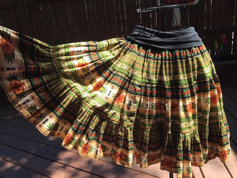 Green aztec tucson print Yoga skirt