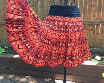 Red aztec tucson native american print Yoga skirt Rock
