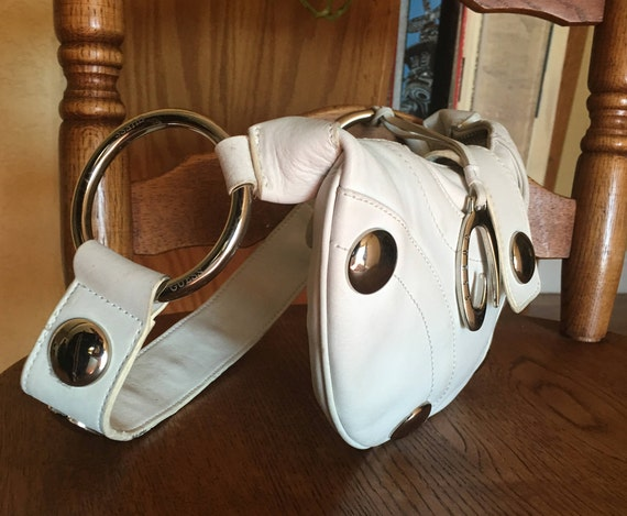 White Leather Hand Bag, Guess Brand