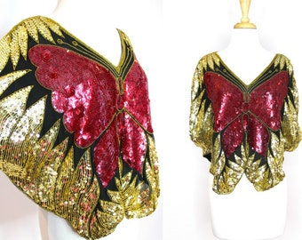 Sequined Butterfly Top Batwing Red Gold