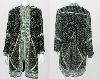 ae835f190de Vintage Sequin Jacket Long Kaftan Kimono Black Silver Silk Small Open Beaded  Trophy