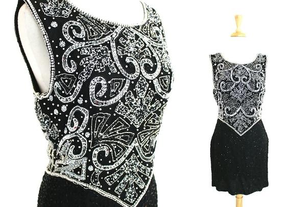 Black Sequin Mini Dress Large