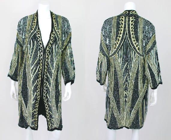 Heavy Beaded Jacket Vintage Sequin Tassel Long Hea