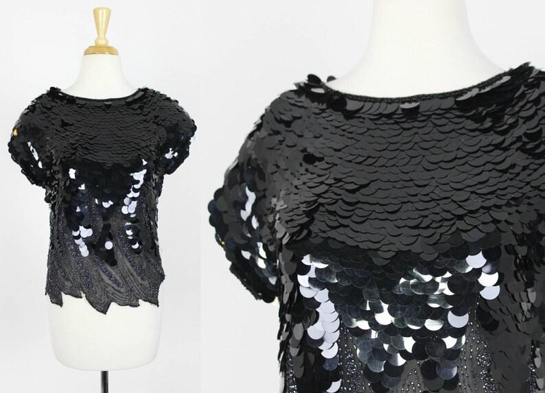 1df4df5e33f22 Vintage Black Sequin Blouse Paillette Top Size Small Sheer
