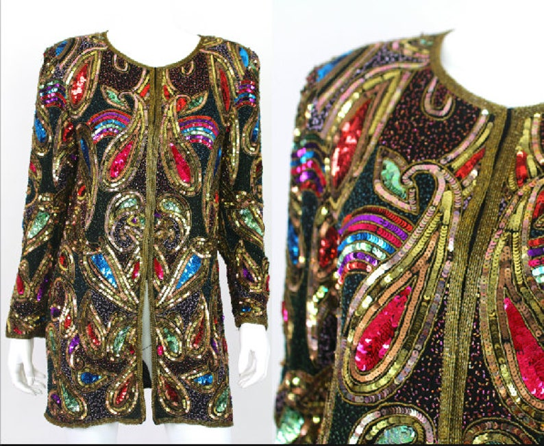 4d45750a Vintage Sequin Jacket Colorful Long Fitted Heavy Glam Size | Etsy